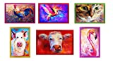 Tex family Juego de 6 paños de cocina con estampado de animales pintados en puro algodón de alta definición, tamaño maxi
