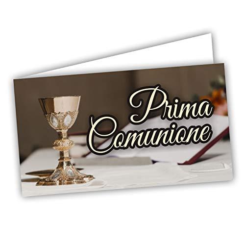 Kärtchen für Gastgeschenke zur Erstkommunion – Kärtchen für Taschentücher für Dragees und Tüten 60 Stück vorgeschnitten – Innendruck mit Link und Testblatt