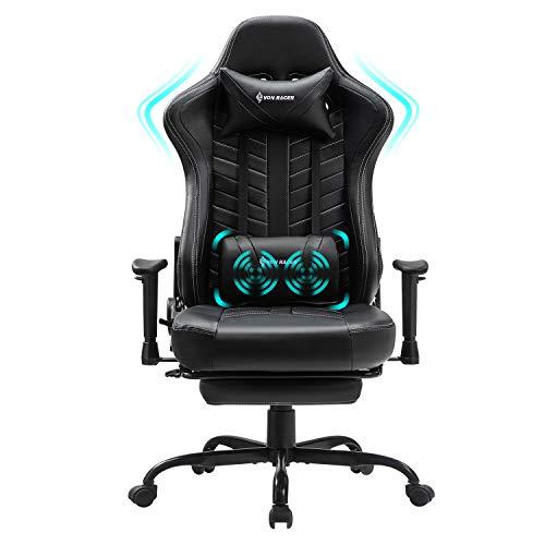 VON RACER Massage Gaming Stuhl mit Fußstütze - Racing Computer Schreibtisch Büro Drehbarer Arbeitsstuhl Ergonomischer Executive Ledersessel mit Kopfstütze Lordosenstütze Verstellbare Armlehnen (Black)