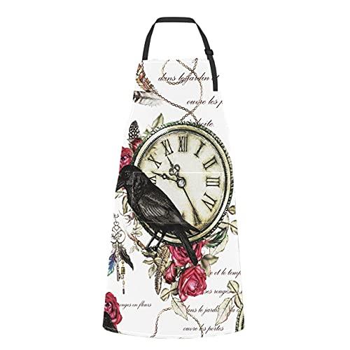 JOCHUAN Delantal de plumas de cuervo negro con rosas rojas y reloj vintage con bolsillos para mujer Corbata ajustable de plumas de cuervo negro con rosas rojas y reloj vintage con bolsillo