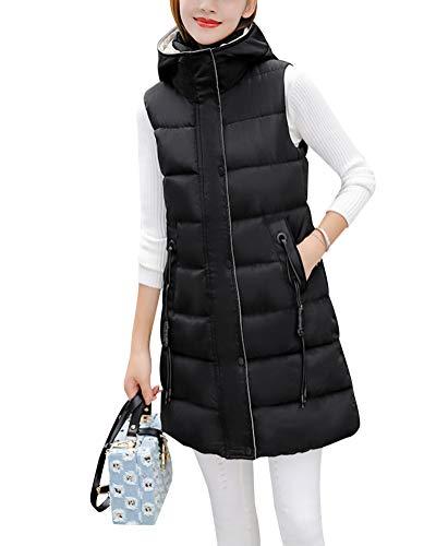 Damen Weste Lang Mantel Outwear Ärmellose mit Kapuze Steppweste Wintermantel Vest Schwarz 3XL