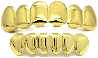 Gold Tone Stainless Steel Hip Hop Teeth Grillz Top & Bottom Grill Set