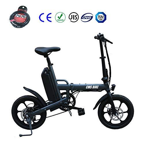 Elektrofahrrad Faltbares Mountainbik 16 \'\' Elektrisches Fahrrad Ebike Shimano 6 Gang 36V 13 Ah Abnehmbar Lithiumbatterie LCD-Instrumententafel Bremslicht Scheibenbremsen,Gray