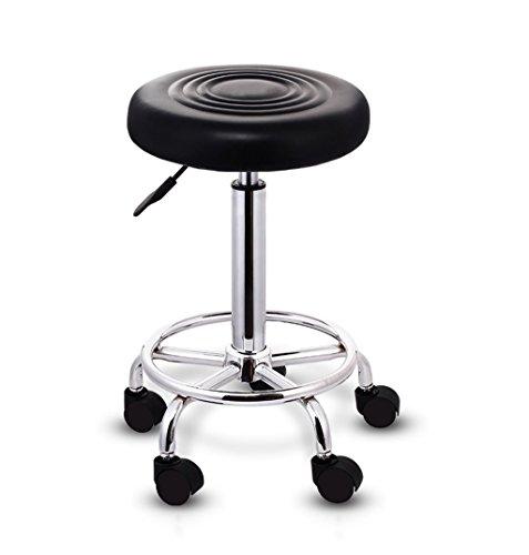 WQ-Sofás y Sillones Bar Chair 360 ° Giratorio Lift Bar Chair High Feet Round Taburete de Bar PU Silla de Cuero Negro 100 kg