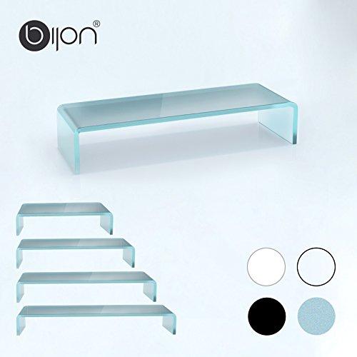 bijon® TV Aufsatz Glas Bildschirm-Erhöhung | PC Monitor-Erhöhung, Schreibtisch-Aufsatz für Laptop Erhöhung, Monitor-Erhöhung | (B/T/H) 650x250x110mm - Satin