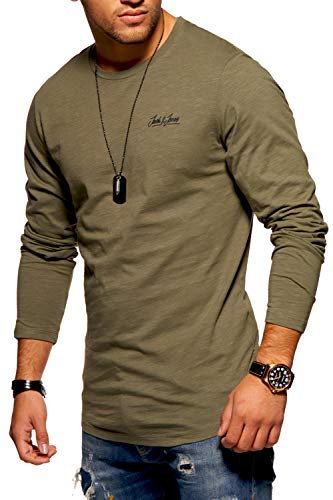 JACK & JONES Herren Langarmshirt Oversize Longshirt O-Neck (Medium, Dusty Olive)