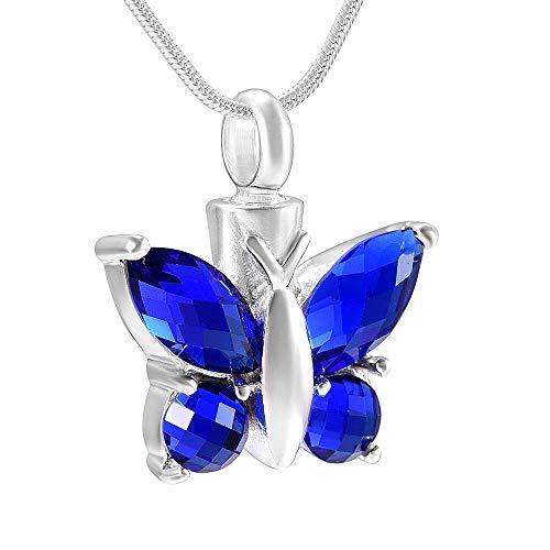 Collar de urna con incrustaciones de piedras azules del océano, forma de mariposa, urnas de cremación de acero inoxidable, colgante, collar con soporte para cenizas de animales para mujer