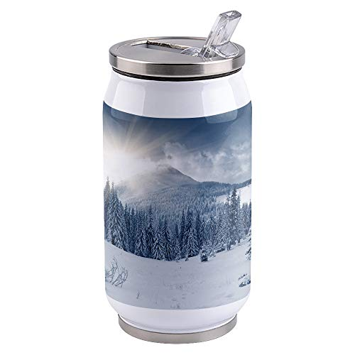 10oz Stainless Steel Liner Vacuum Tumbler Snow Mountain Thermal Insulation Vacuum Cup with Straw & Slider Lid Winter Sence Portable Cola Can for Travel, Sports, Camping