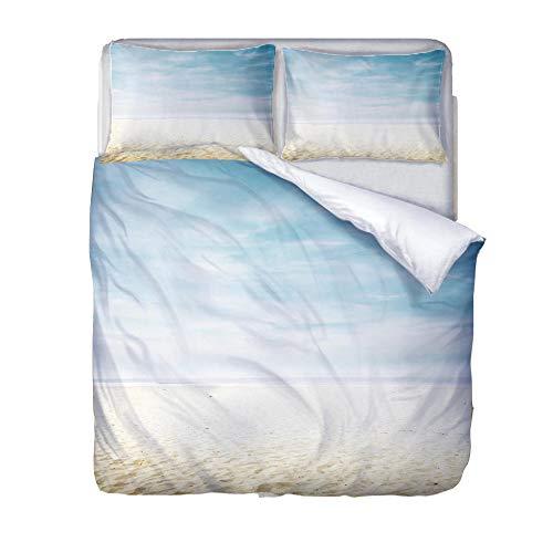 BSZHCT Duvet Cover Set Single bed Size Light blue sky Printed Bedding Set 100% Hypoallergenic Microfiber Quilt Cover and 2 Pillowcases Duvet Set Gift for Teens Girls boy adult