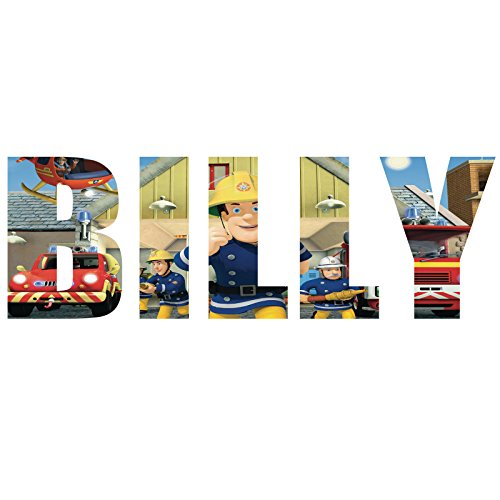 Customise4u Feuerwehrmann Sam personalisierte Namen NameText Kinder Kinder Wand Aufkleber Wandkunst Wandtattoo (100cm)