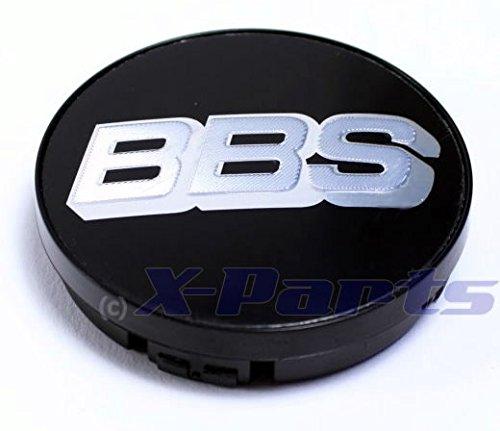 BBS ALLOY WHEEL SINGLE BB0924257 Enjoliveur pour moyeu de roue, emblème BBS, noir et argent chromé, 56 mm, sans circlip