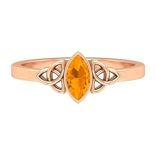 Anillo de nudo celta, 1/2 CT creado en laboratorio, anillo de zafiro naranja, anillo solitario (7 x 3, 14K Oro rosa, Size:EU 67