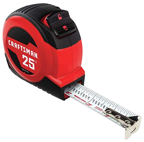 CRAFTSMAN Tape Measure, Self-Lock, 25-Foot (CMHT37225S),Red/Back