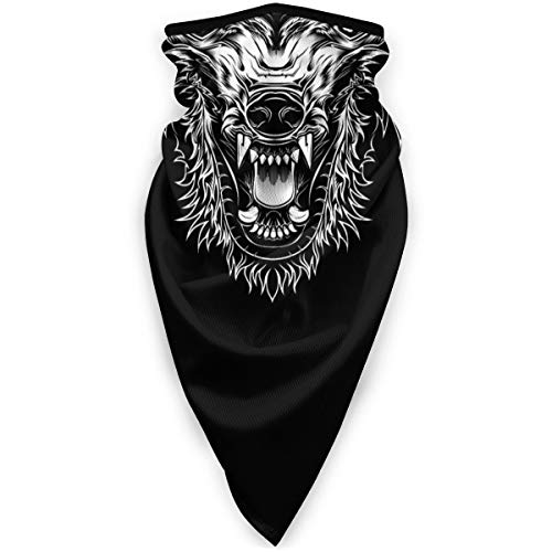 Outdoor Face Mask Head Ferocious Wolf Outline Silhouette Multifunctional UV Protection Headwear for Hiking Cycling Ski Snowboard