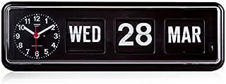 twemco Homeloo x German Quartz Retro Modern Calendar Wall Flip Clock BQ 38 (Black)