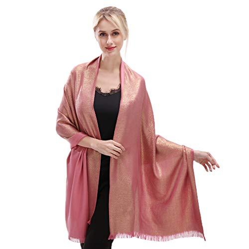 Bufandas y mantillas de pashmina suave para mujer Bufanda de colores sólidos para bodas (oro rosa)