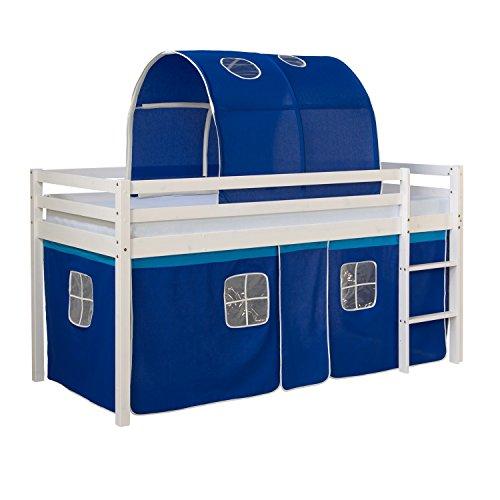 Homestyle4u 1560, Kinder Hochbett Mit Leiter, Tunnel, Vorhang Blau, Massivholz Kiefer Weiß, 90x200 cm