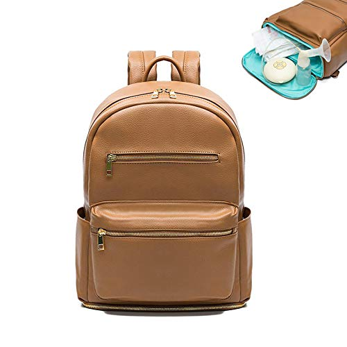 Baby Changing Bag Backpack Miss Fong Leather Nappy Changing Backpack Diaper Bags with Insulated Pockets Baby Bags for Mum and Dad, Maternity Bag with Bottom Compartment Pocket-Brown