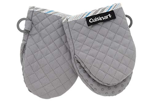 Cuisinart Silicone Mini Oven Mitts 2pk  Little Oven Gloves for Cooking  Heat Resistant NonSlip Grip Hanging Loop 55 x 75 Inches  Ideal for Handling Hot Kitchen Bakeware Items  Drizzle Grey