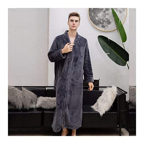 GAOHUI Männer Herbst Winter Warm Home Casual Gewirke Flanell Bademantel Erweitert Erweiterte Langarm Rv Schlafanzug Grau, Männlich, XL