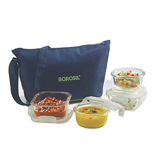 Borosil Glass Daisy Microwave Safe Office Tiffin Lunch Box (Blue, 2 pcs 320 ml Square, 2pcs 240 ml Round) -Set of 4