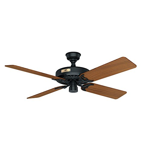 """HUNTER 23863Original Indoor / Outdoor Ceiling Fan with Pull Chain Control, 52"""", Brass-antique"""