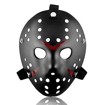 ALIZIWAY Mask Halloween Costume Cosplay Voorhees Hockey Mask Black 01B