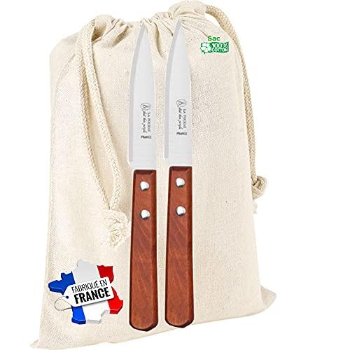 2 Couteaux office manche vernis fabrication française dans un sac coton
