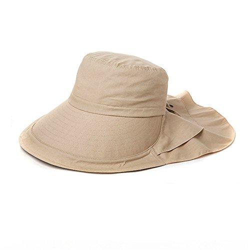 Comhats Gorra de Verano con Visera y protección para el Cuello, con cordón, para Mujer Sombrero (UPF 50+) Caqui