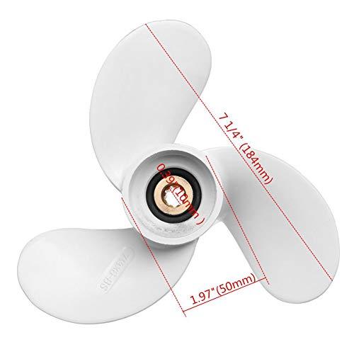 QIUXIANG-EU 6L5-45943-00-El Hélice Externa de aleación de Aluminio El 7 1/4 X 6 / Apto para Yamaha 2.5-3Hp Blanco 9 Diente Estriado 3 Palas R Rotación