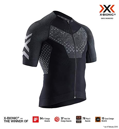 X-Bionic Twyce 4.0 Bike Zip Shirt Short Sleeve Men Homme, Opal Black/Arctic White, FR : M (Taille Fabricant : M)