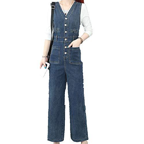 N\P Tirantes Capris para otoño e invierno, gruesos, sueltos, sueltos, de una pieza, para mujer Azul 1 XL