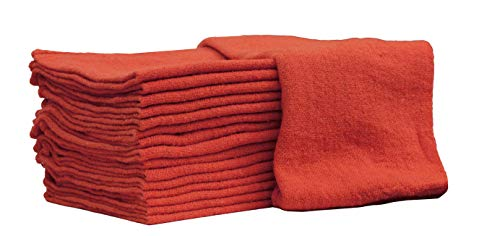 Auto-Mechanic Shop Towels, Shop Rags 100% Cotton Commercial Grade Perfect for Your Garage, Auto Body Shop & Bar Mop (14x14) inches, 25 Pack, (Red)