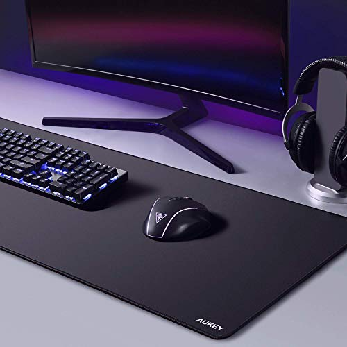 AUKEY Gaming Mouse Pad Large XXL (35.4×15.75×0.15in) Thick Extended Mouse Mat Non-Slip Spill-Resistant Desk Pad with Special-Textured Surface, Anti-Fray Stitched Edges for Keyboard, PC - Black