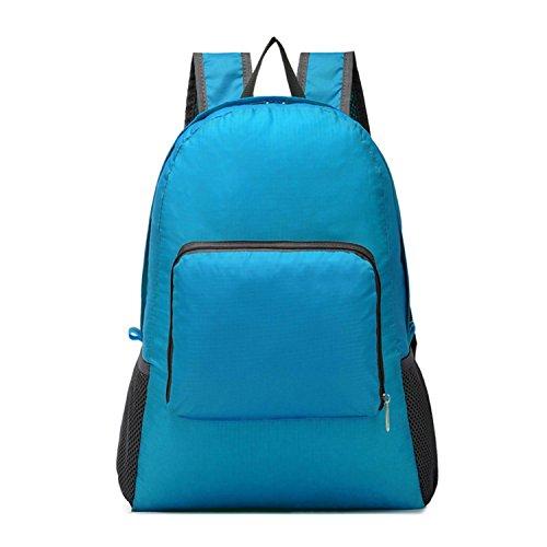 Voyage sac à dos pliable imperméable à l'eau léger 20L Oxford Backpack loisir Sports Bag Student Pack Walking alpinisme havresac 4 couleurs H48 x W30 x T12 CM , blue
