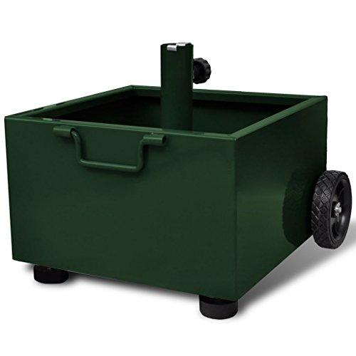 vidaXL Pot de Plantes et Support de Parasol d'Extérieur 2-en-1 Vert Terrasse