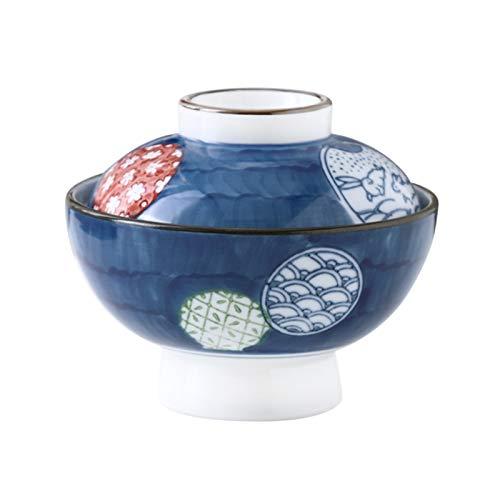 Cuenco de cerámica miso para sopa, postre de estilo japonés con tapa, cuencos de sopa de cebolla francesa, taza de huevo al vapor, olla pequeña para cocina en el hogar, 300 ml