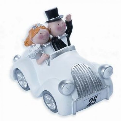 Silberhochzeit - Figura decorativa para bodas de plata, diseño de pareja en un coche