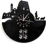 Yubingqin Reloj del Disco de Vinilo de la Pared, decoración de la Pared temático-Cerdeña Gran Reloj, Hecha a Mano Reloj de Pared del Paisaje Regalo Creativo.