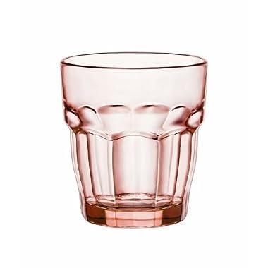Bormioli Rocco Rock Bar Lounge Rocks Glasses, Peach, Set of 6 9.25 oz