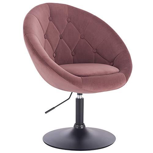 WOLTU® BH222rs-1 1 x Barsessel Loungesessel mit Armlehne, stufenlose Höhenverstellung, Samt, Rosa