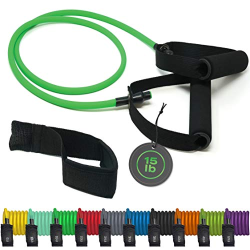 TRIBE Single Resistance Bands, Workout Bands - Includes Single Exercise Band, Cushioned Handles, Door Anchor & Advanced eBook for Resistance Training, Physical Therapy, Home Workouts