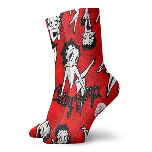 zicheng Betty Boop Socken-Persönlichkeit Mode Schwarze Socken Sternsocken Schillernd Einzigartig