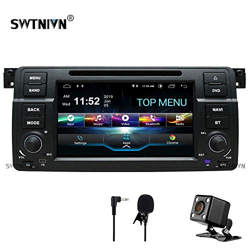 SWTNVIN Android 10.0 Car Stereo Compatible with BMW 3 Series 1999 2000 2001 2002 2003 2004(E46) Rover75 MG ZT 2G RAM 32G ROM 7 Inch HD Car Radio Support BT GPS TPMS Steering Wheel DVD Play