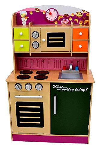 Best For Kids Kinderküche Spielküche W10C013 violett aus Holz mit Zubehör Super Qualität aus MDF Platte