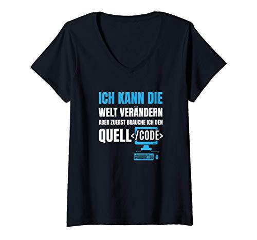 Damen Nerd, Geek, Gaming, Informatiker, WLAN Geschenk-Idee I T-Shirt mit V-Ausschnitt