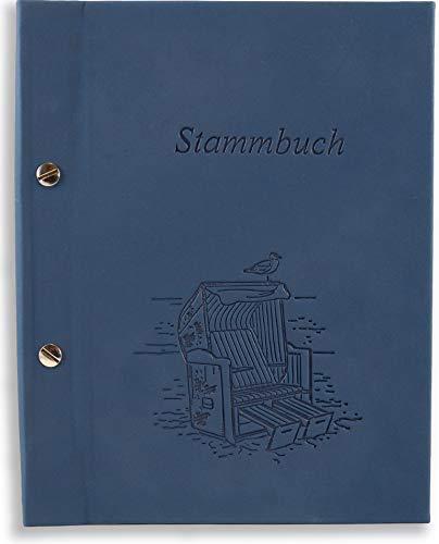 Hochzeitja A5 Stammbuch der Famiie blau Dera Strandkorb Strand Design