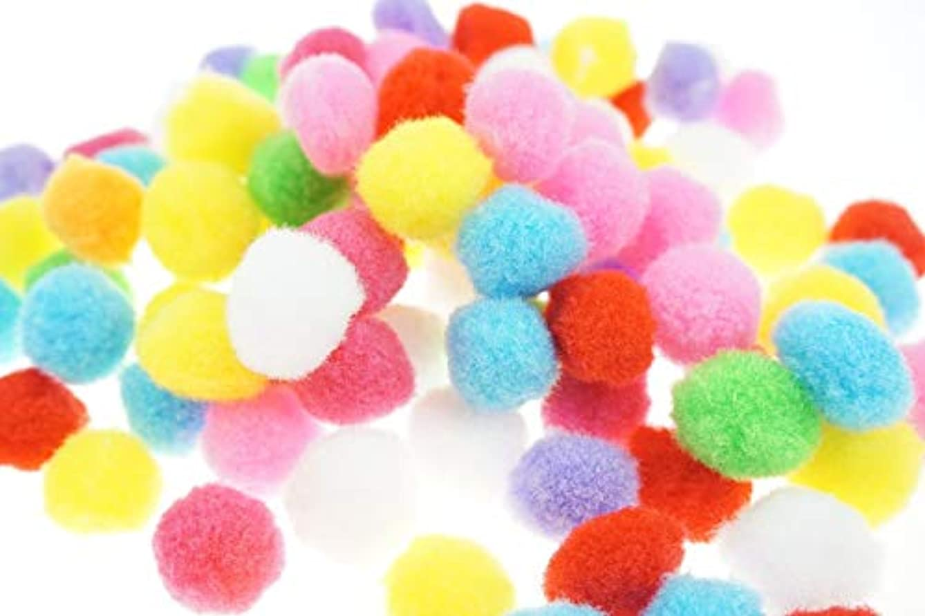 Bilipala 100PCS Multi Purpose Assorted Colors Pom Poms, 0.8 Inch, Craft Making