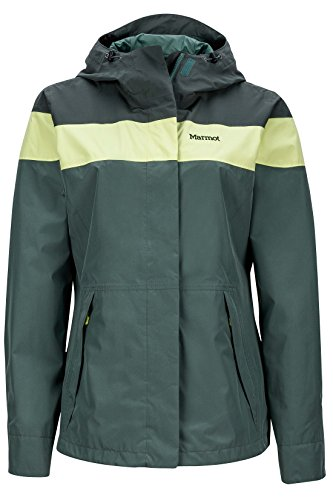 Marmot Women's Roam Lightweight Waterproof Hooded Rain Jacket, Urban Army/Dark Zinc, Small