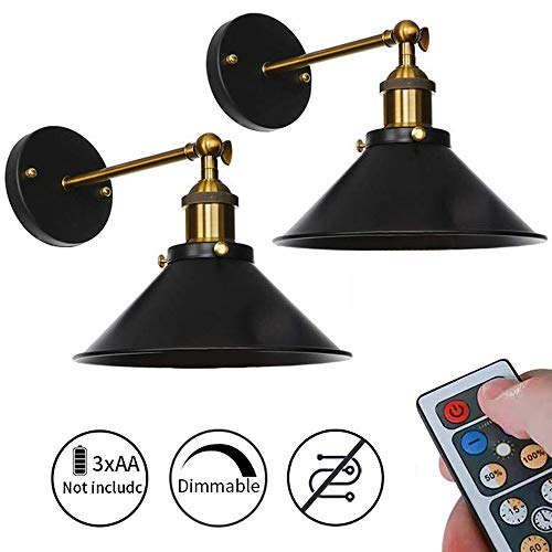 ANYE 2-Pack 100 Lumens Led Remote Control Battery Operated Indoor Wireless Wall Sconce Light Fixture for Room Lighting Wall Decor Bedroom- Easy Installation, Dimmable Control,Battery Not Included